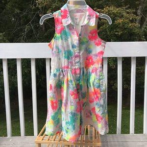 3/$20 GAP girl sleeveless watercolor shirt dress-M